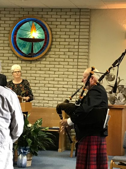 Bagpipe player at the 3/5/2017 Service
