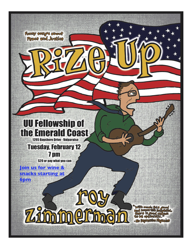 Roy Zimmerman Concert Tuesday, Feb. 12, Wine and Snacks at 6pm, concert at 7pm