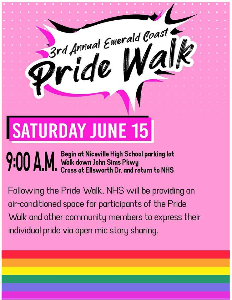 3rd Annual Emerald Coast Pride Walk Saturday June 15, 2019