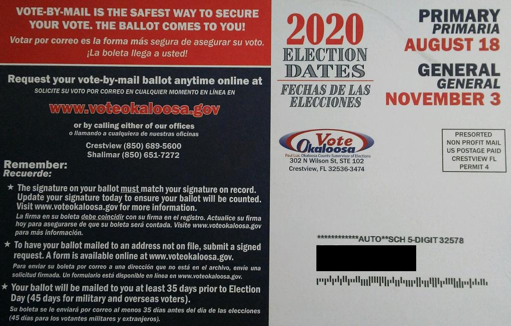 Post Card Voter Registration Side 2