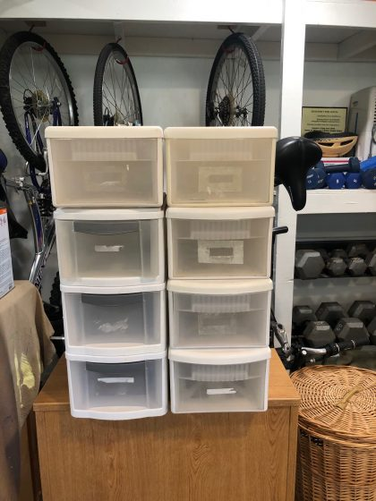 "8 drawer style plastic storage bins. 6""(h) x 8""(w) x13""(d)"